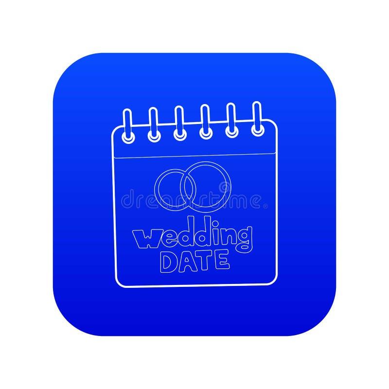 Vetor azul do ícone da data do casamento ilustração stock