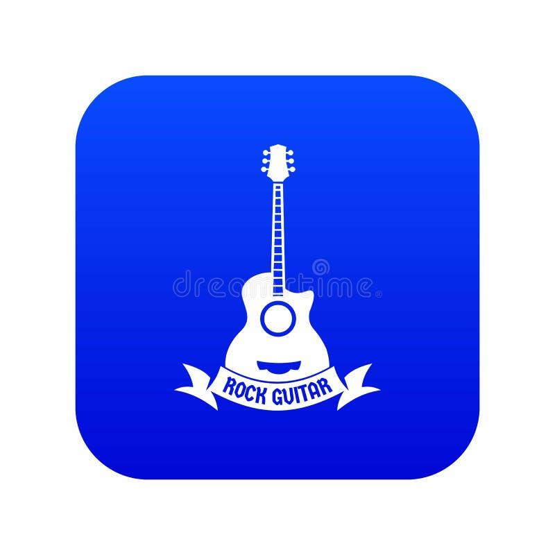 Vetor azul do ícone da guitarra ilustração stock