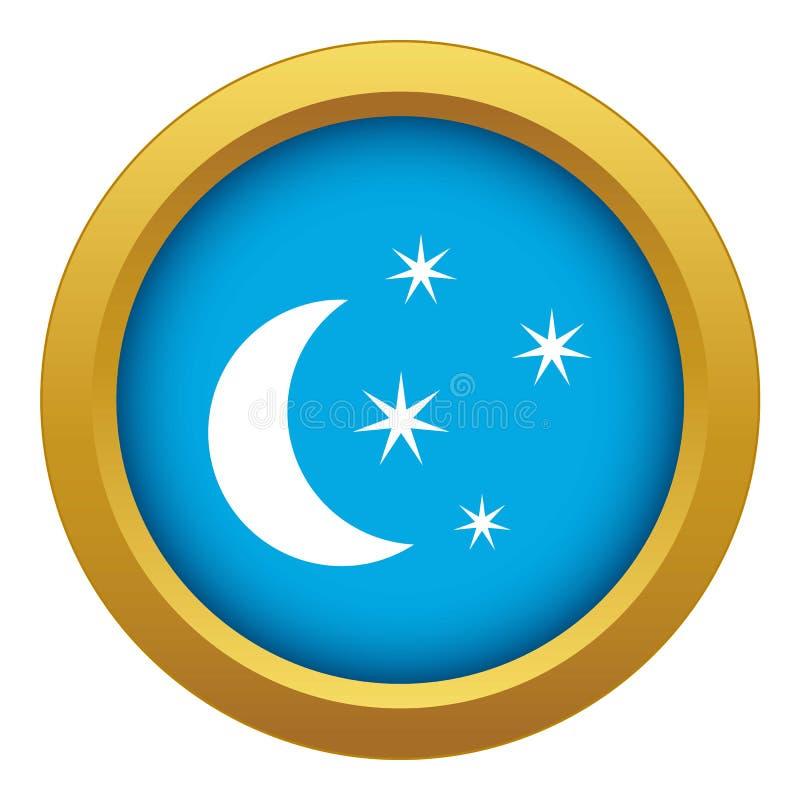Vetor azul do ícone da lua e das estrelas isolado ilustração do vetor