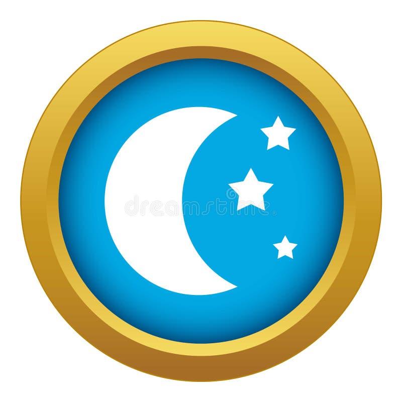 Vetor azul do ícone da lua e das estrelas isolado ilustração stock