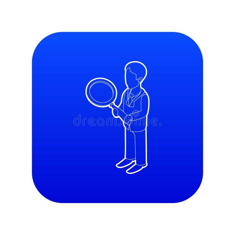 Vetor azul do ícone da lupa da terra arrendada do homem de negócios ilustração royalty free