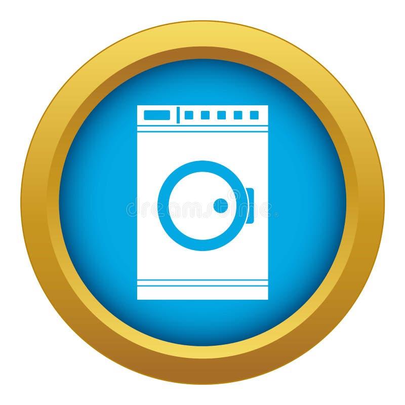 Vetor azul do ícone da máquina de lavar isolado ilustração royalty free