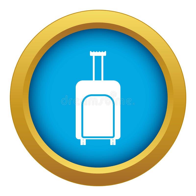 Vetor azul do ícone da mala de viagem do curso isolado ilustração stock