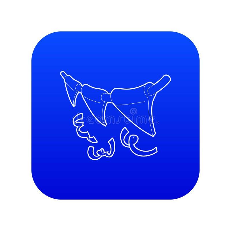 Vetor azul do ícone das bandeiras ilustração royalty free