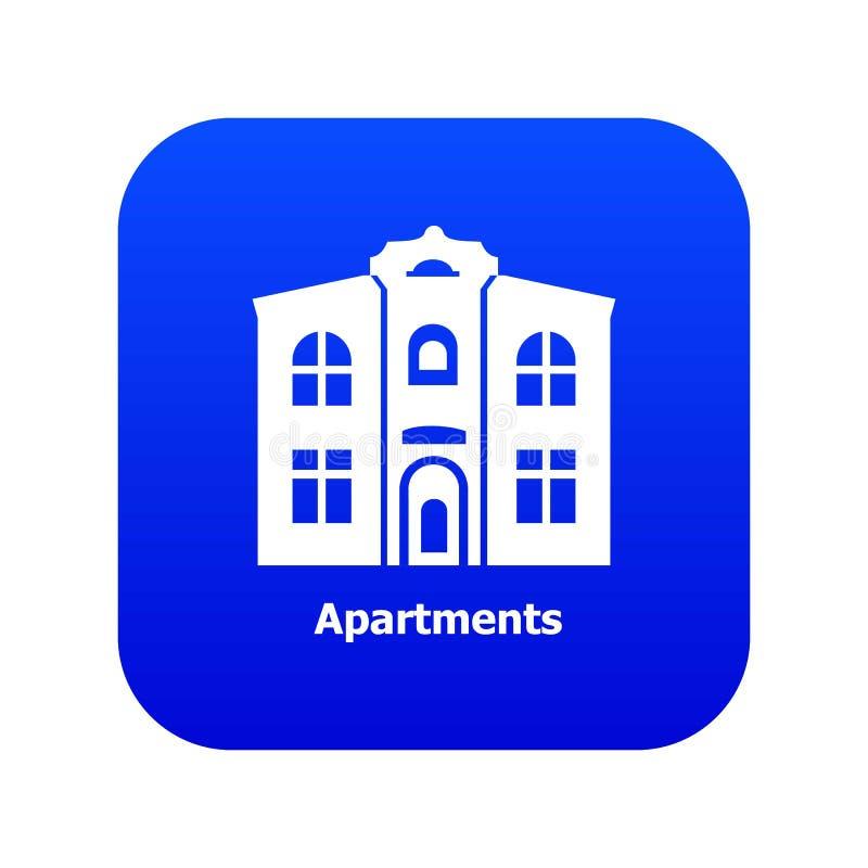Vetor azul do ícone dos apartamentos ilustração do vetor