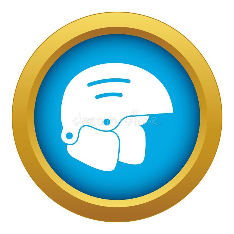 Vetor azul do ícone dos capacetes do Snowboard isolado ilustração royalty free