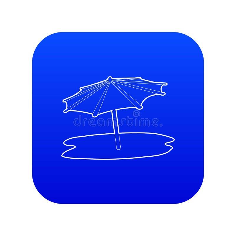 Vetor azul do ícone do guarda-chuva de praia ilustração royalty free