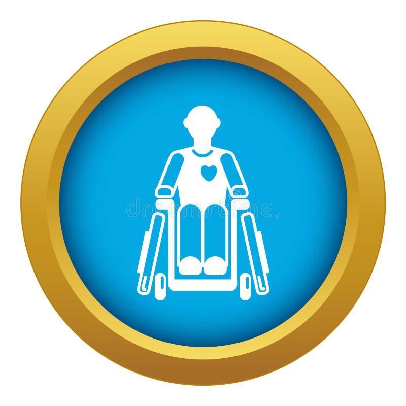 Vetor azul do ícone inválido da cadeira de rodas do homem isolado ilustração do vetor