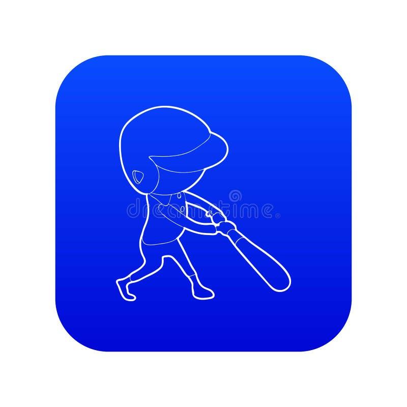 Vetor azul do ícone do jogador de beisebol ilustração royalty free