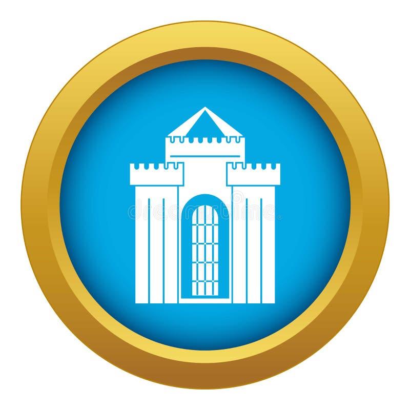Vetor azul do ícone medieval do palácio isolado ilustração stock