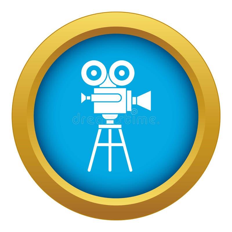 Vetor azul do ícone retro do projetor de filme isolado ilustração royalty free
