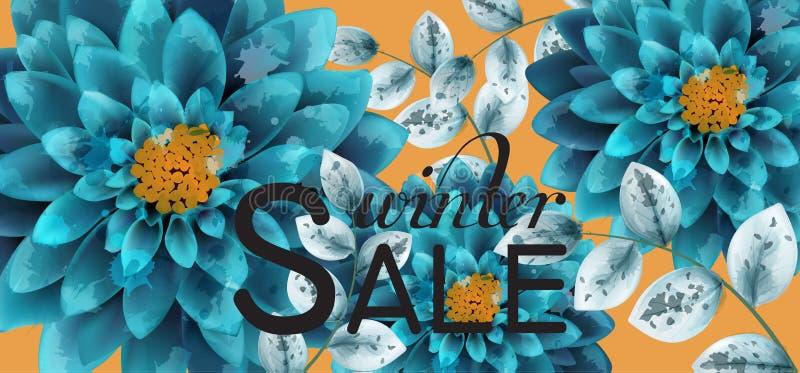 Vetor azul do fundo das flores da aquarela de turquesa O fim floral das decorações do cartão levanta ilustração stock