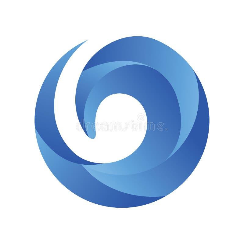 Vetor azul do logotipo da onda ilustração stock