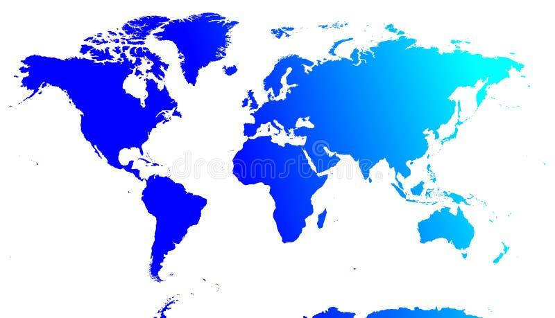 Vetor azul do mapa de mundo ilustração stock