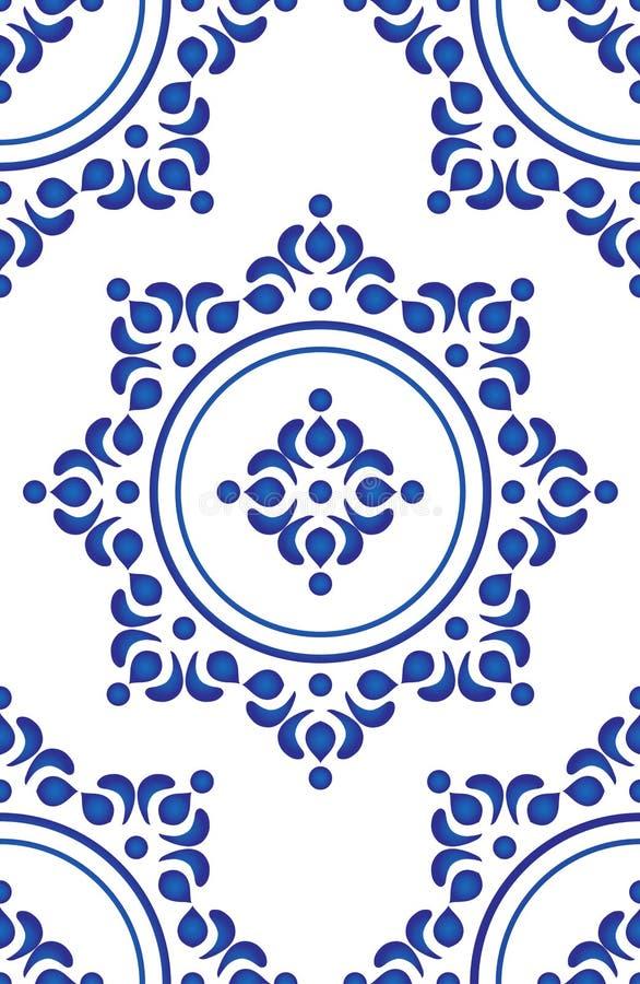 Vetor azul do teste padrão da telha ilustração stock