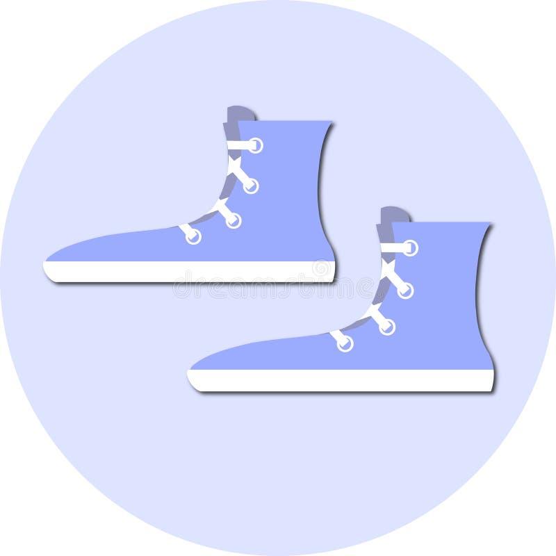 Vetor azul liso redondo do estoque do ícone das sapatilhas ilustração stock