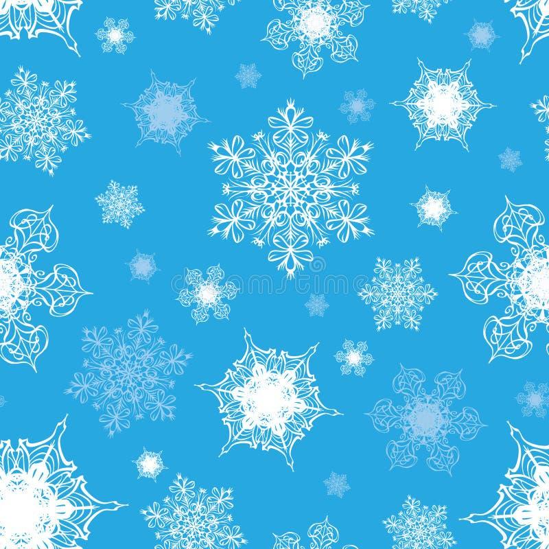 Vetor Azure Blue White Ornate Snowflakes sem emenda ilustração stock