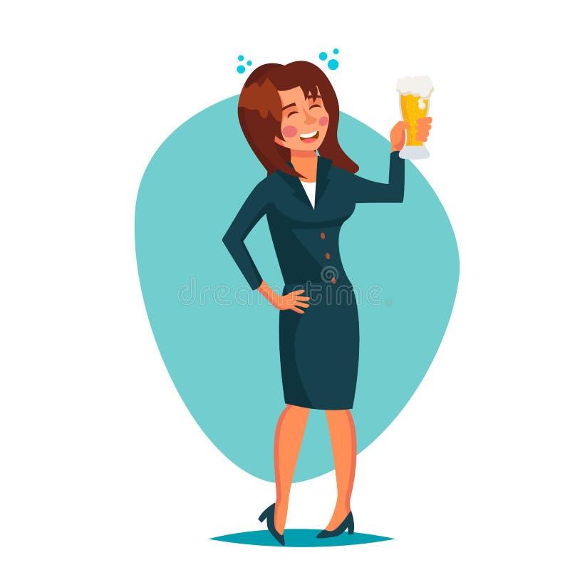 Vetor bêbado da mulher do escritório Partido incorporado ilustração stock