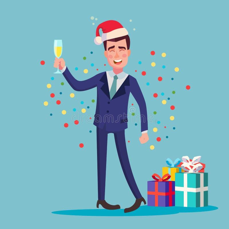 Vetor bêbado do homem álcool Festa de Natal incorporada ilustração do vetor