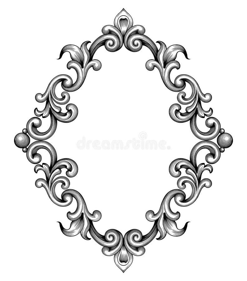 Vetor barroco do ornamento do rolo da gravura do quadro do vintage ilustração royalty free