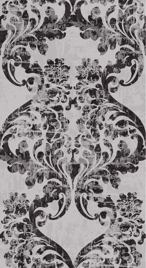 Vetor barroco do teste padrão do ornamento do vintage Textura real vitoriano Vertical decorativo do projeto da flor Decorações na ilustração do vetor