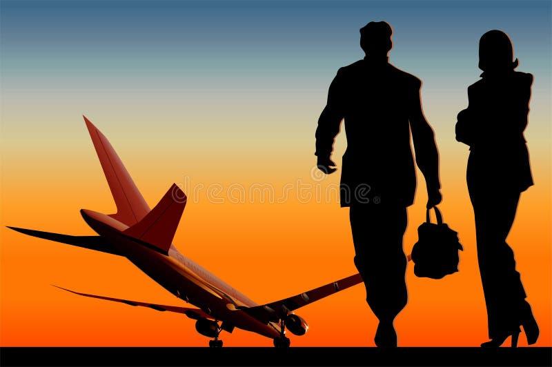 Vetor Boeing-787 na pista de decolagem ilustração royalty free