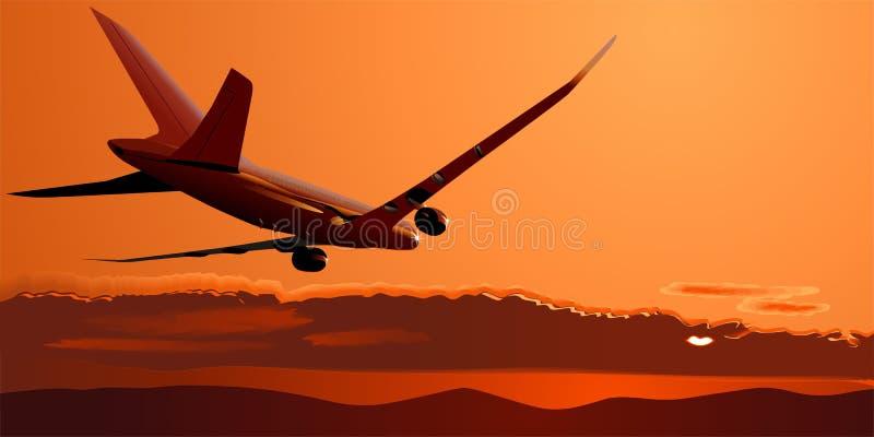 Vetor Boeing-787 no por do sol ilustração stock