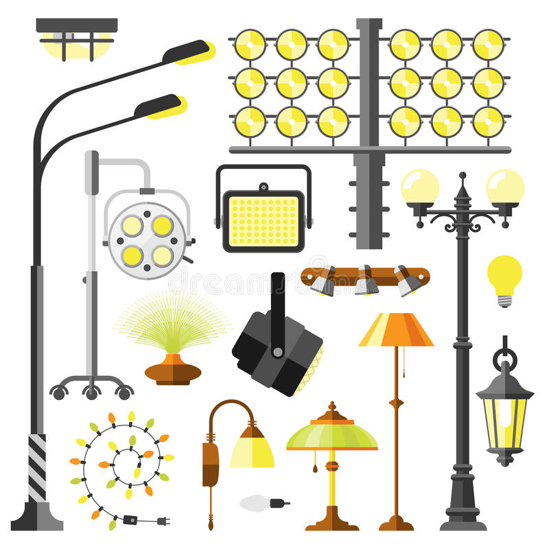 Vetor bonde do equipamento dos estilos das lâmpadas ilustração stock