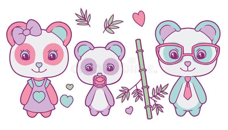 Vetor bonito ajustado com a família colorida pastel do urso de panda gigante com mãe, pai e bebê, corações e folhas de bambu ilustração do vetor
