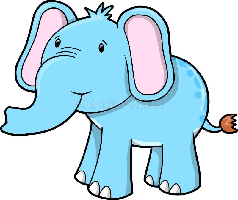 Vetor bonito azul do elefante ilustração do vetor