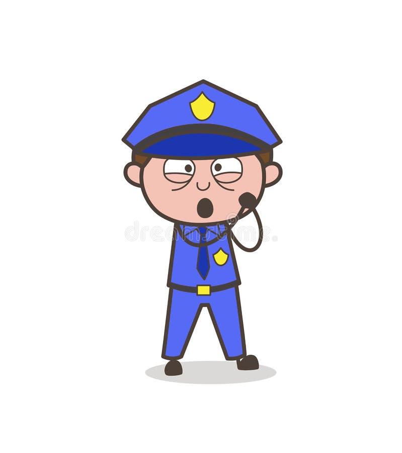 Vetor bonito da expressão da polícia de trânsito bonito dos desenhos animados ilustração royalty free