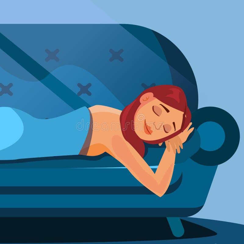 Vetor bonito da mulher do sono Sono saudável Quarto da noite Ilustração lisa dos desenhos animados ilustração stock