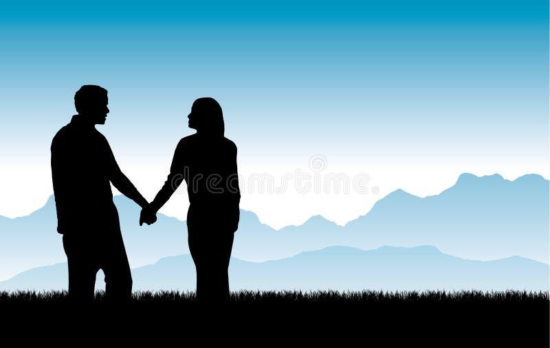 Vetor bonito de construção dos relacionamentos ilustração do vetor