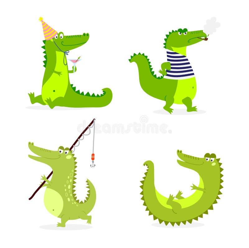 Vetor bonito do caráter do crocodilo ilustração stock