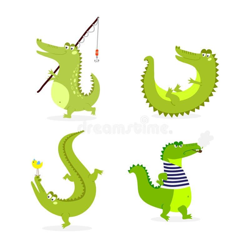 Vetor bonito do caráter do crocodilo ilustração royalty free