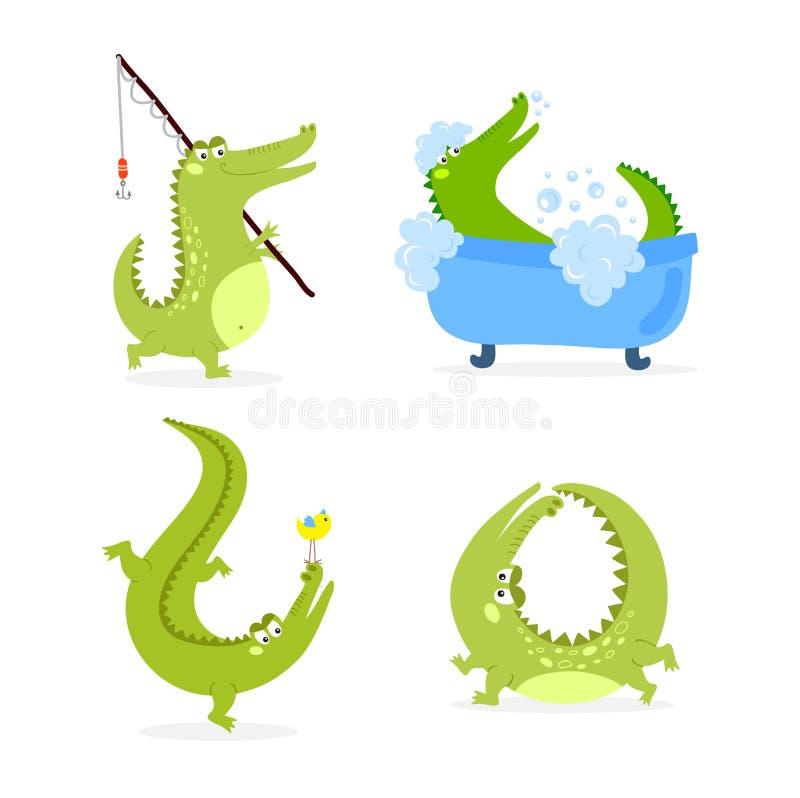 Vetor bonito do caráter do crocodilo ilustração do vetor