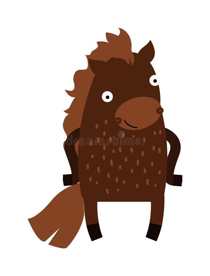 Vetor bonito do clipart do caráter do mamífero do animal de exploração agrícola do cavalo dos desenhos animados ilustração royalty free
