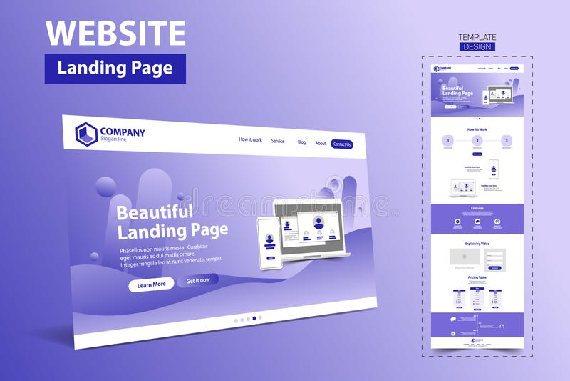 Vetor bonito do conceito de projeto do molde do Web site da página da aterrissagem ilustração stock