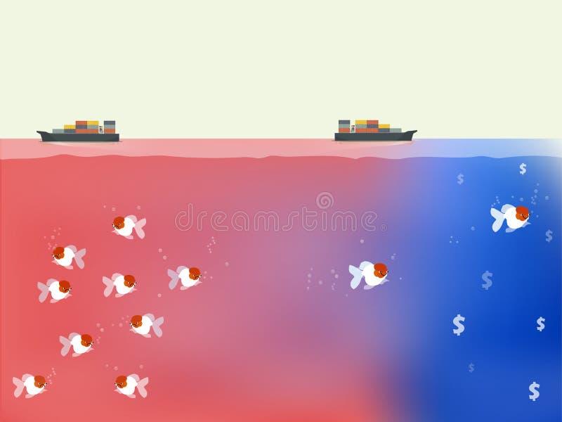 Vetor bonito do oceano azul e do conceito vermelho da estratégia empresarial do oceano fotos de stock royalty free