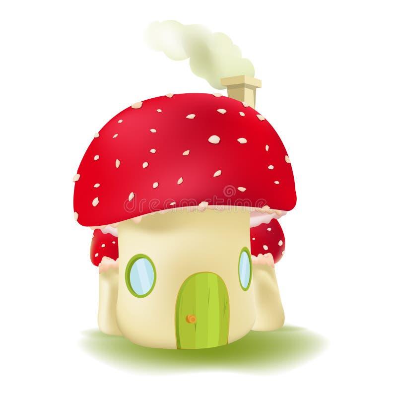 Vetor bonito do projeto da casa vermelha do cogumelo ilustração do vetor