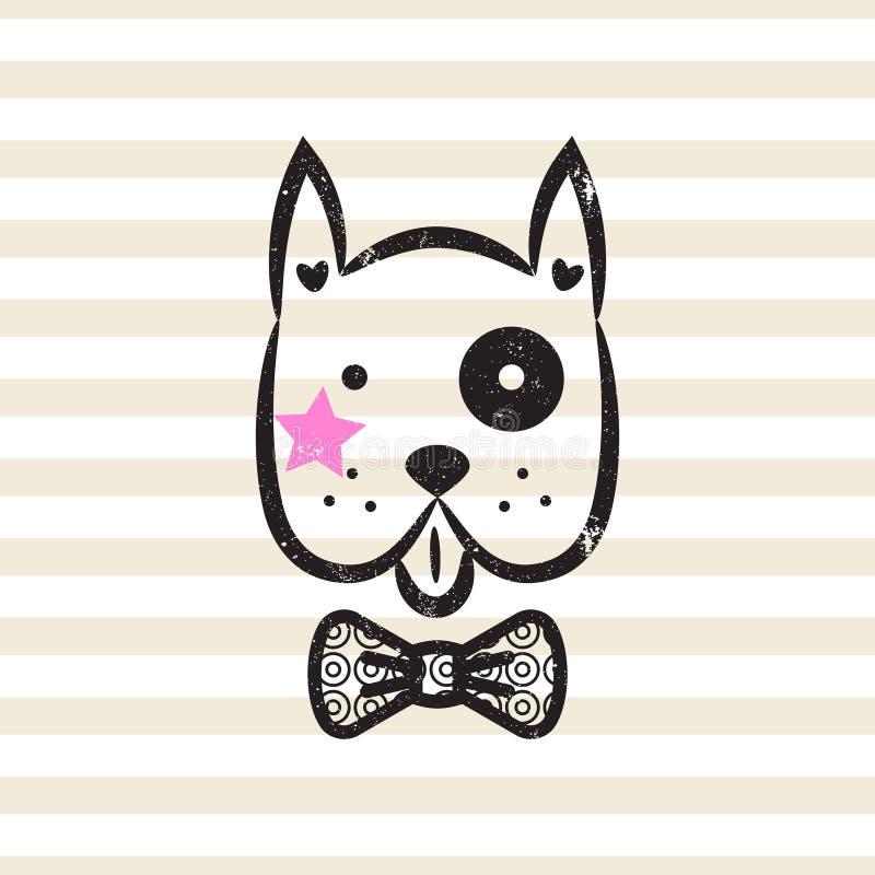 Vetor bonito do projeto do tshirt do cão do cavalheiro ilustração do vetor