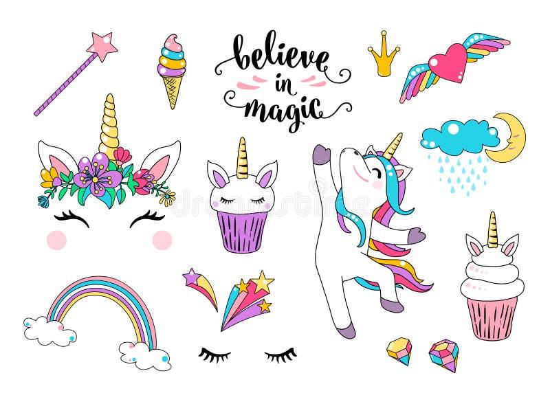Vetor bonito do unicórnio com o queque, dançando pouco cavalo, cabeça com flores, arco-íris, diamante, gelado e rotulação ilustração stock