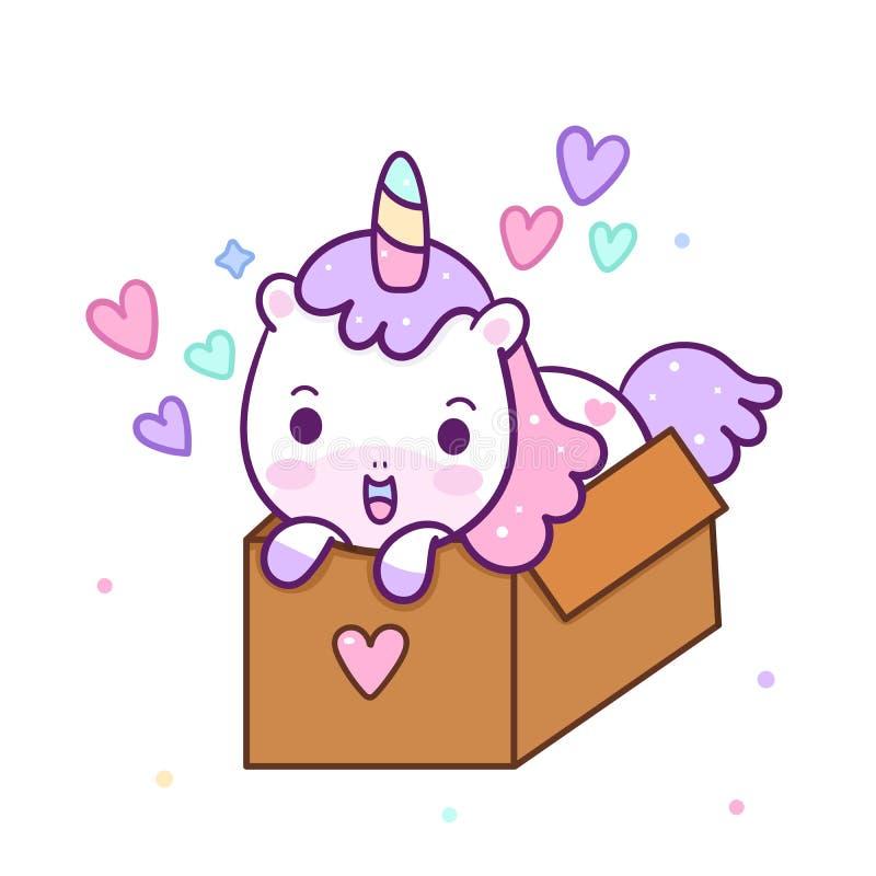 Vetor bonito do unicórnio na caixa para a cor pastel do feliz aniversario, desenhos animados do pônei de Kawaii, aniversário da c ilustração stock