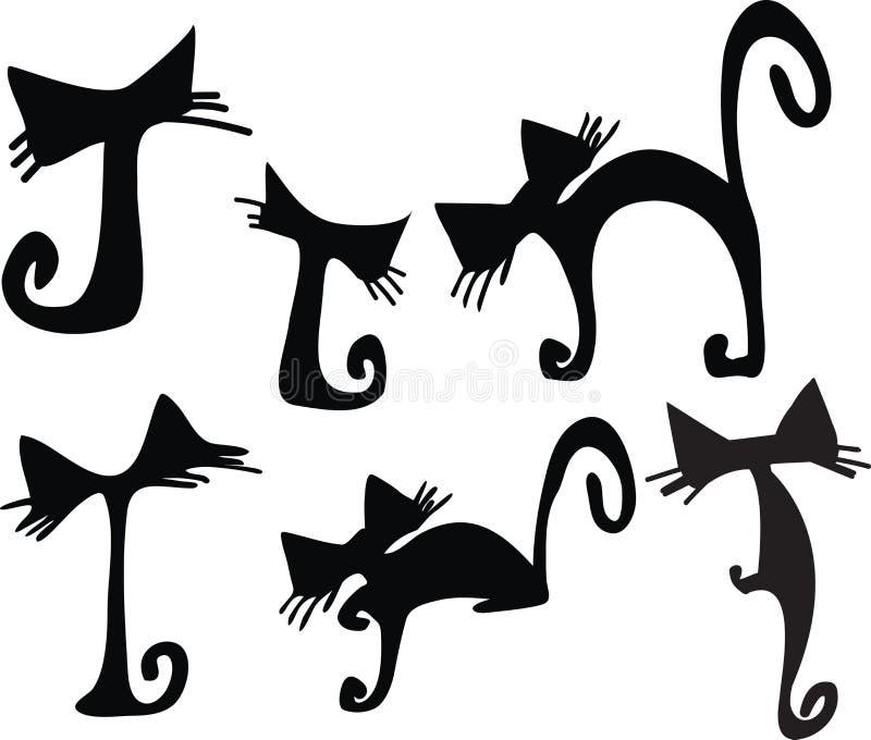 Vetor bonito dos gatos ilustração royalty free