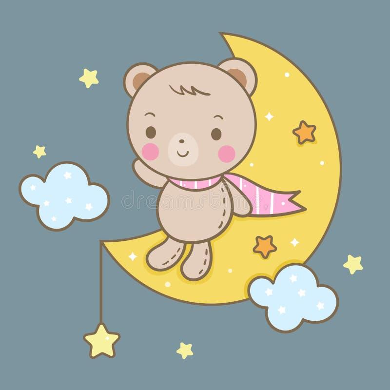 Vetor bonito na lua, tempo do urso de sono mágico para o sonho doce, estilo de Kawaii com estrela ilustração do vetor