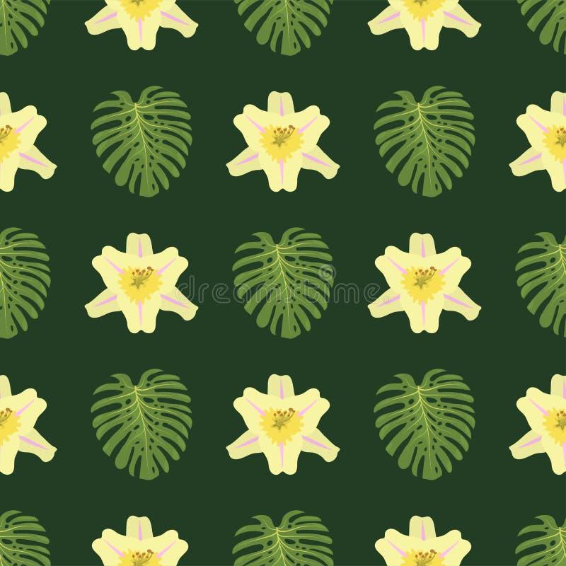 Vetor botânico da flora de Havaí da planta em folha de palmeira sem emenda exótica tropical da natureza da selva do teste padrão  ilustração royalty free