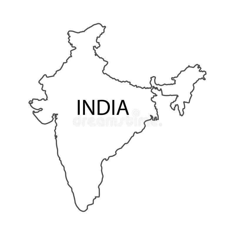 Vetor branco do fundo do tamanho correto do mapa da Índia ilustração stock