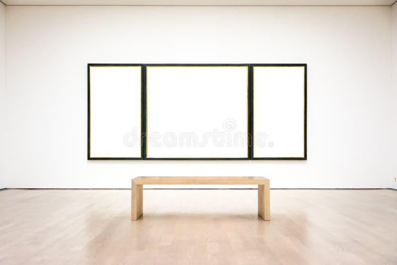 Vetor branco isolado de Art Museum Frame Wall Clipping trajeto moderno imagens de stock