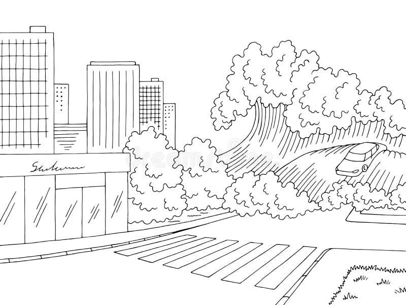 Vetor branco preto gráfico da ilustração do esboço da cidade da paisagem da inundação do tsunami ilustração do vetor