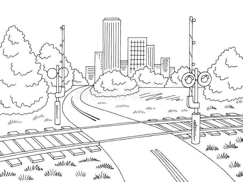 Vetor branco preto gráfico da ilustração do esboço da paisagem da cidade da estrada do cruzamento de estrada de ferro ilustração royalty free